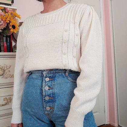 80s Oscar De La Renta Pearl Sweater, up to L