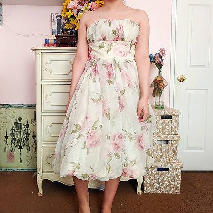 50s Rose Tea Dress, XS
