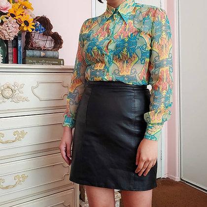 70s Black Leather Mini Skirt, M