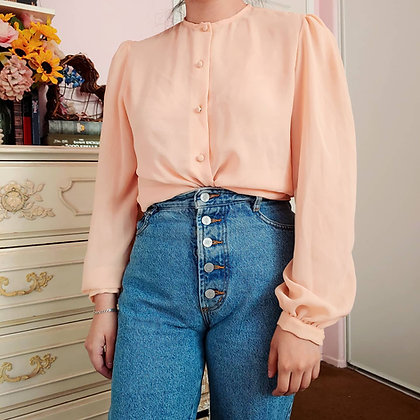 80s Pastel Peach Blouse, up to L