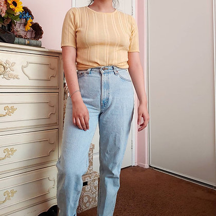 90s Yellow Ribbed Sweater Top, S/M