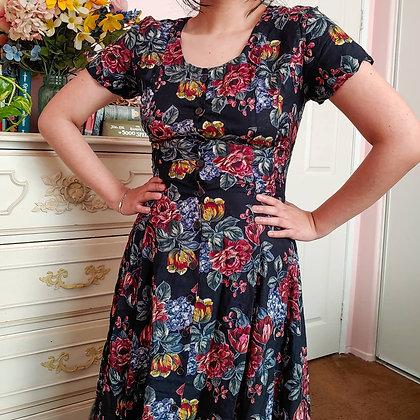 90s Black Floral Midi Dress *flawed*, M