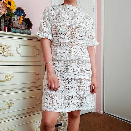 60s White Crochet Dress