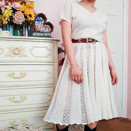 70s Crochet Knit Midi Dress, L