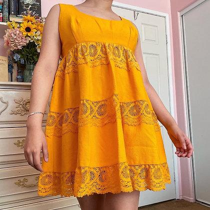 70s Marigold Yellow Babydoll Dress, S/M