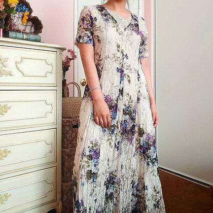 90s Lace Floral Maxi Dress, M/L