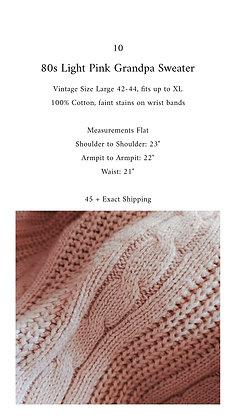 10 - 80s Light Pink Grandpa Sweater, up to XL, 1 pound 6 oz