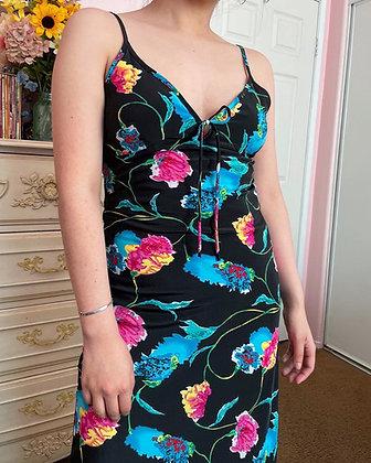 90s Bright Floral Maxi Dress, S/M