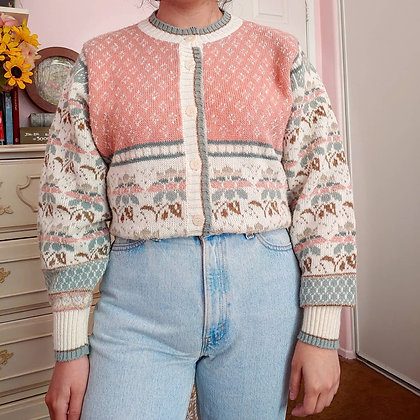 80s Multi-Print Cardigan with Ombre Flowers, up to L