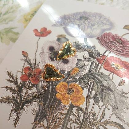80s Gold Toned Shimmery Green Enamel Earrings