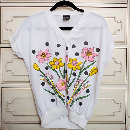 80s Bright Floral Top, S/M