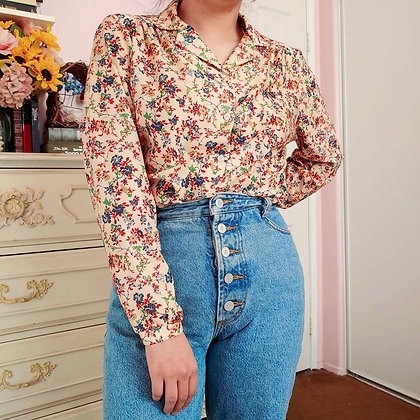 70s Floral & Bird Blouse, up to L
