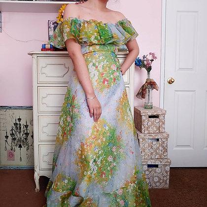 70s Off the Shoulder Floral Maxi Dress