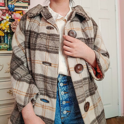 60s Plaid Peter Pan Swing Coat, up to S