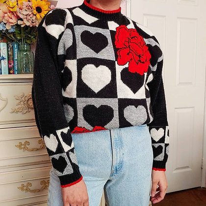80s Checkered Heart Sweater, up to L