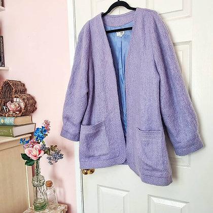 80s Fuzzy Lilac Open Cardigan, XXL/1X