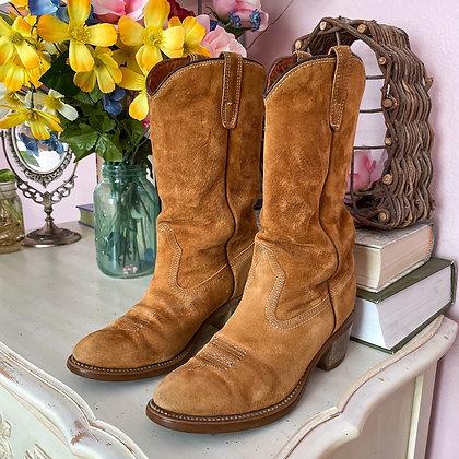 1979 Cognac Suede Cowboy Boots, 6.5