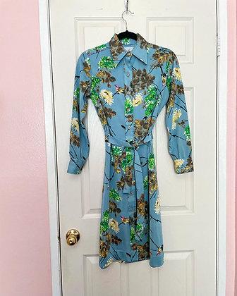 60s/70s Floral & Bird Dress, S/M