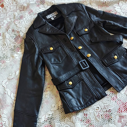 90s NWOT Black Leather Jacket, up to M fitted