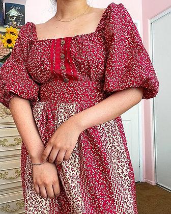 70s Floral & Paisley Maxi Dress, M/L