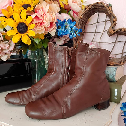 60s Kraus Chocolate Boots, 9 to 9.5