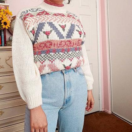 90s Rose & Multi-Print Mock Turtleneck Sweater, up to L