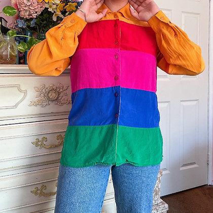 90s Crayola Silk Blouse, up to L fitted