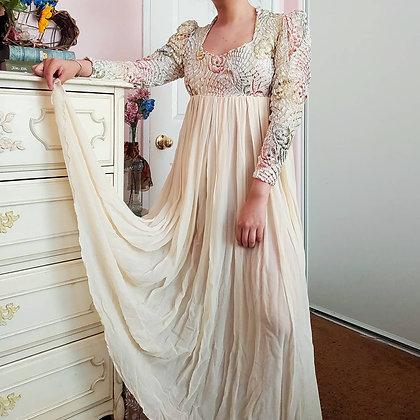 70s Rose & Velvet Dress, XS