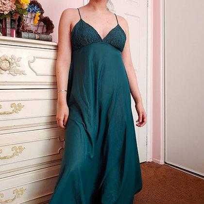 70s Emerald Green Maxi Dress, S/M
