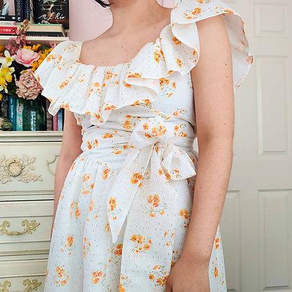 70s Ruffled Orange Floral Dress, XS