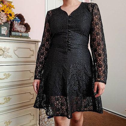 90s All That Jazz Black Lace Dress, XS/S