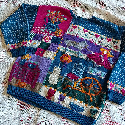 80s Antique Store Novelty Sweater, up to XL fitted