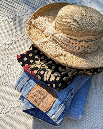80s Straw & Crochet Prairie Hat