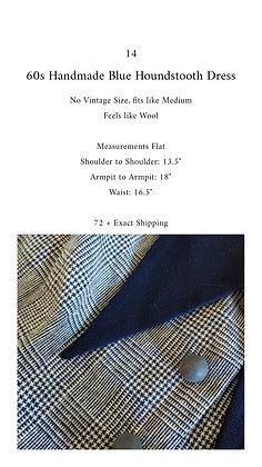 14 - 60s Handmade Blue Houndstooth Dress, M, 1 pound