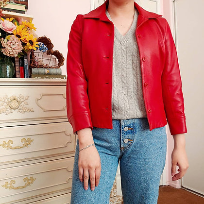 1995 Red Leather Jacket, up to S
