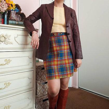 70s Dark Brown Leather Blazer Jacket, XS-S