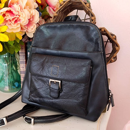 90s Black Pebbled Leather Backpack