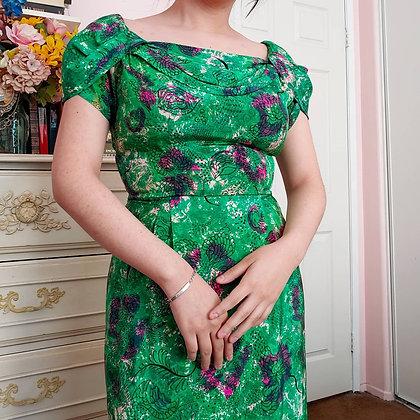 """50s Aywon Originals Emerald Floral Tea Length Dress, 27"""""""