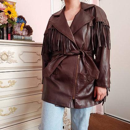 80s Fringed Leather Jacket, S-L