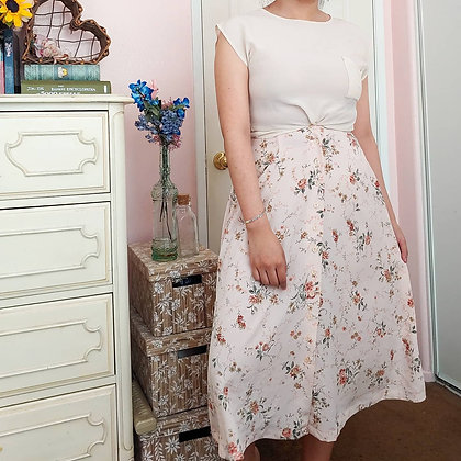 """90s Floral Midi Skirt, 27"""""""