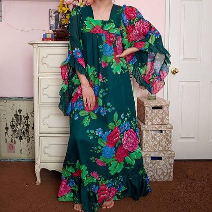 70s Green Floral Dress