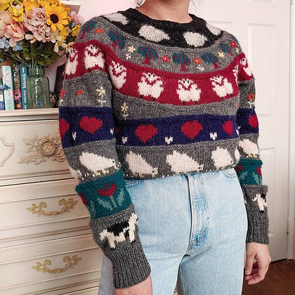 Early 80s Rare Novelty Print Sweater, up to M fitted