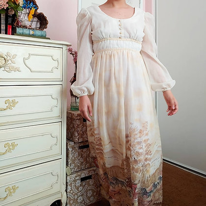 70s Candi Jones Prairie Dress, XS
