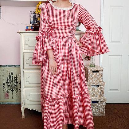 70s Gingham Dress, M