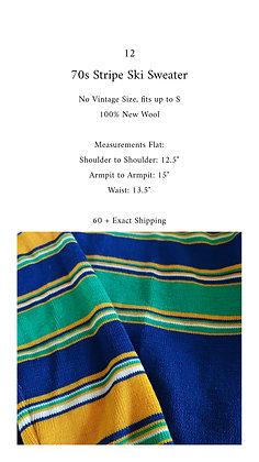 12 - 70s Stripe Ski Sweater, up to S, 12 oz