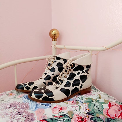 90s Reworked Cow Print Boots, 7.5