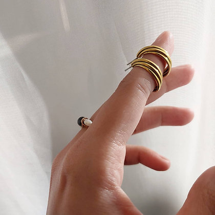 80s Gold Toned Triple Ring Hoop Earrings