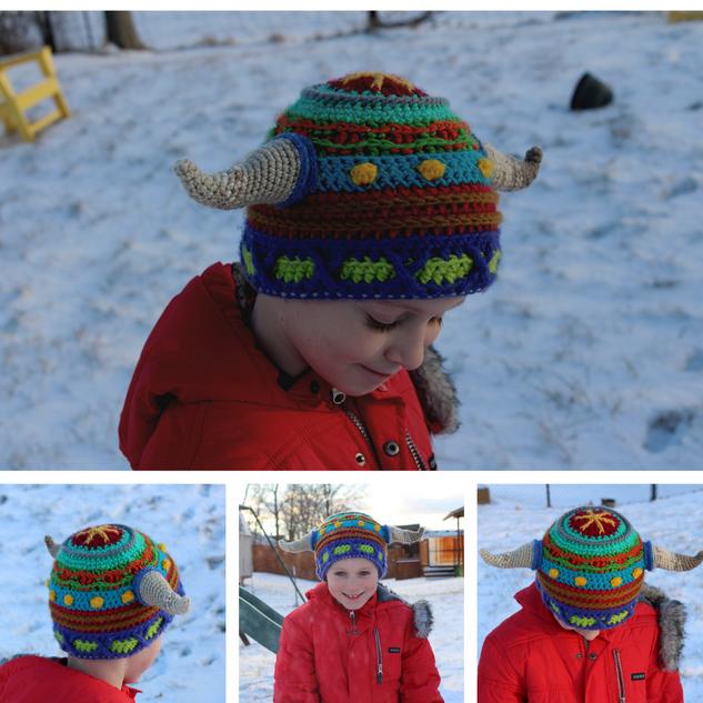 "Scrap Stripe ""Viking"" Horn Hat"