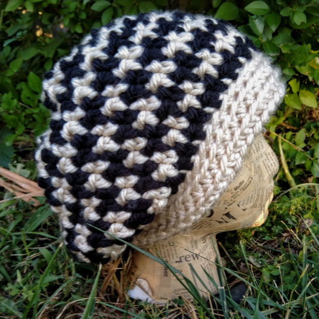 Houndstooth Slouchy Hat