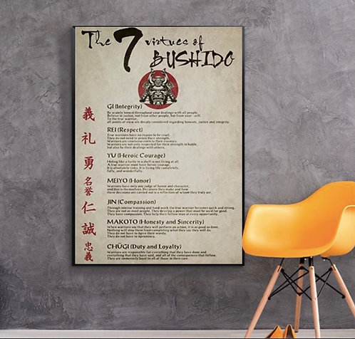 7 Virtues of Bushido Samurai Japanese Culture Art Decorative Poster Home Decor